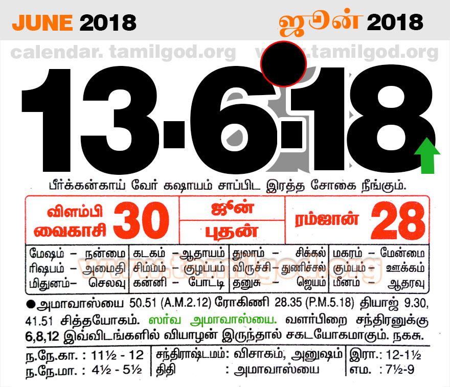 June 2018 Calendar - Tamil daily calendar for the day 13/06/2018