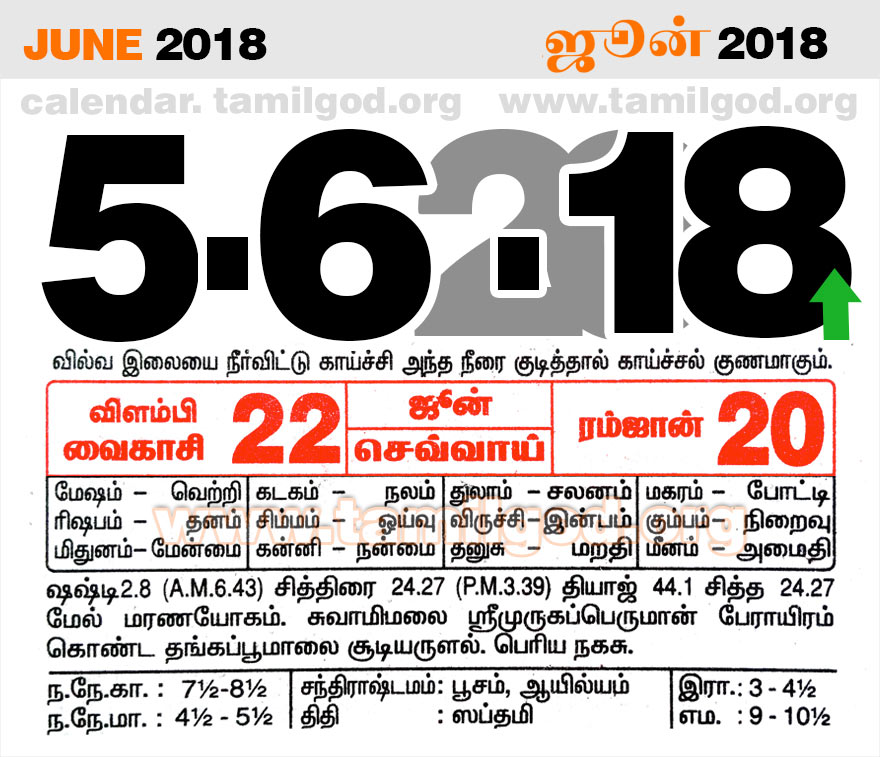 June 2018 Calendar - Tamil daily calendar for the day 5/06/2018