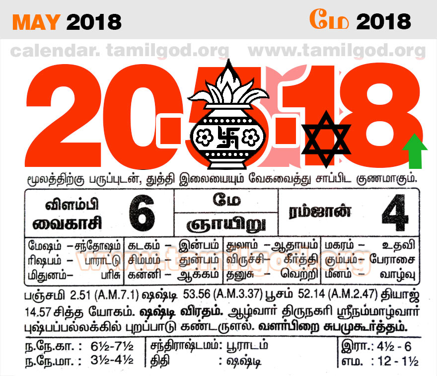 May 2018 Calendar - Tamil daily calendar for the day 20/05/2018