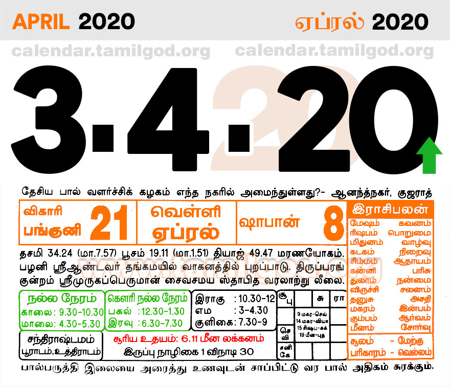 April 2020 Tamil Calendar - Tamil daily calendar 02/04/2020