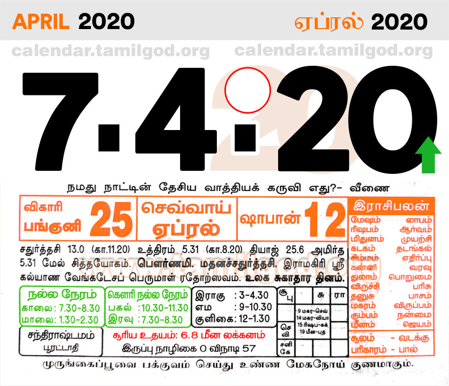 April 2020 Tamil Calendar - Tamil daily calendar 07/04/2020